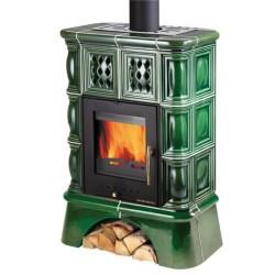 HAAS+SOHN Treviso kachlová kamna s výměníkem - kachlový sokl - zelená